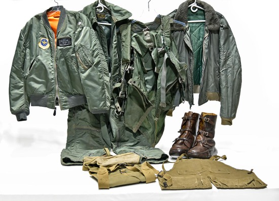 Cold War U.S. Air Force Uniform Flight Jackets, Flight Suit, Flight Boots and Tool Pouches