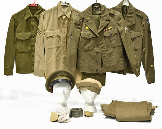 Collection Lot of WWII U.S. Army Uniforms and Accessories