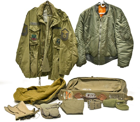 Lot of WWII Clothing Bag and Leggings, Cold War Fatigue Blouse, Flight Jacket, Cold Weather Mittens