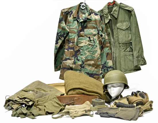 Cold War U.S. Army Field Blouses, Clothing Bag, Helmet, Gas Mask, Ground Sheet and Winter Mittens