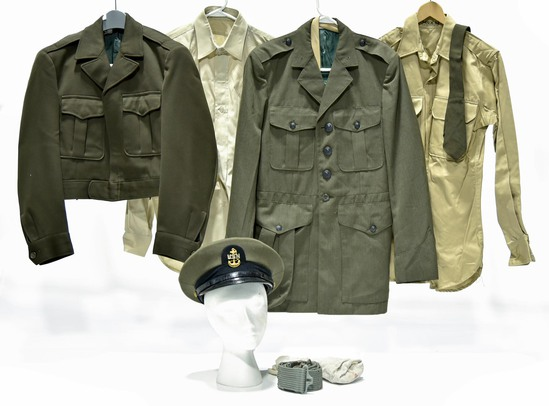 Collection Lot of WWII U.S. Navy Collection of Service Jackets and Shirt with Cap
