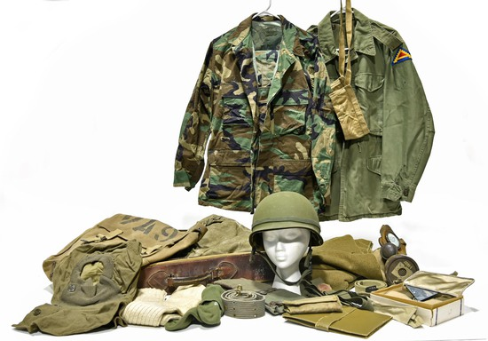 Cold War U.S. Army Field Blouses, Clothing Bag, Helmet, Gas Mask, Ground Sheet, Winter Mittens