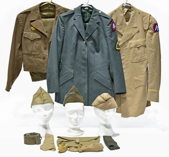 WWII and Cold War U.S. Army Selection of Field and Service Jackets, Garrison Caps and Field Pouch