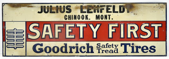 Early Goodrich Safety Tread Tires Julius Lehfeld Chinook Mont Embossed Tin Tacker Sign