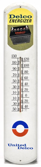 Delco Energizer Batteries Thermometer Sign