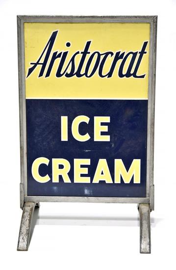 Aristocrat Ice Cream DS Metal Sidewalk Sign in Frame