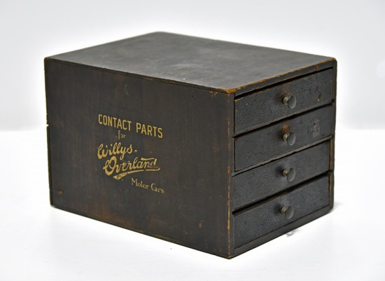 Willys Overland Motorcars Contact Parts Wood 4 Drawer Cabinet with Dividers