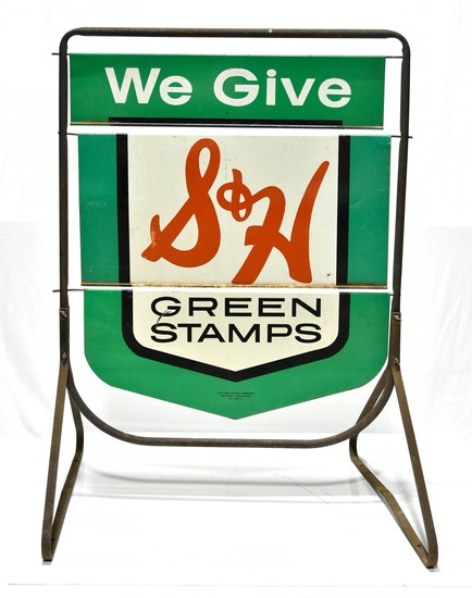 S&H Green Stamps 3 Section Swinging Sidewalk Gas Station DS Sign with Bracket