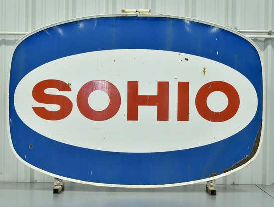 DSP SOHIO Oil Service Station Porcelain Sign in Original Frame with Floor Mounts