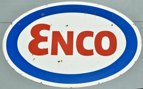 SSP ENCO Oil Single-Sided Porcelain Gas Station Service Station Sign