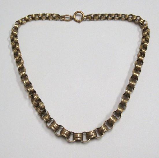 14K Yellow Gold Circular Link Necklace 20g