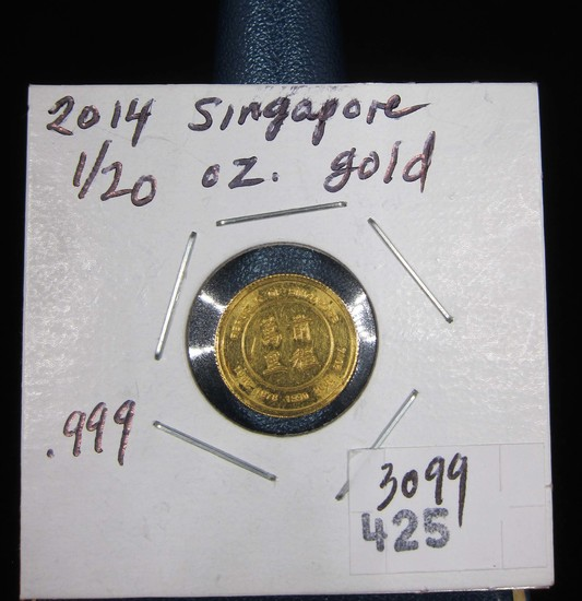 Singapore Mint Singold Lunar SeriesYear of the Horse  Gold Coin 1/20 oz