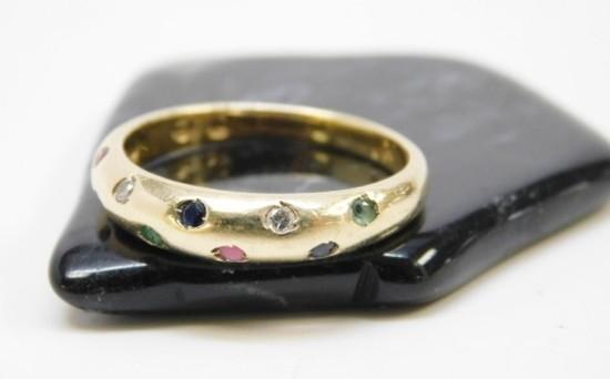 Exotic 14K Yellow Gold Diamond & Ruby Ring 2.5g