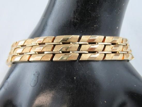 Vntg. 14Kt Gold Multi Panel Link Bracelet