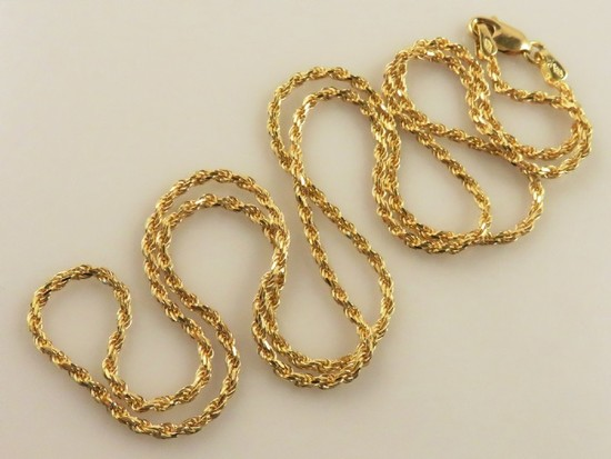 "22"" 18K Gold Rope Chain-10.6g"