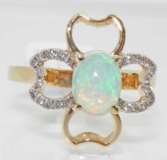 14k Opal  Diamond Clover Ring