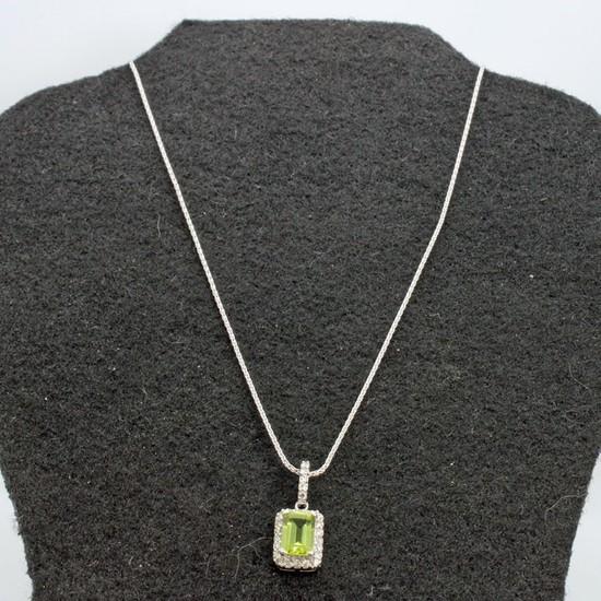 "14K  Gold1.05ctw Peridot & .20ctw Diamond 16"" Necklace"