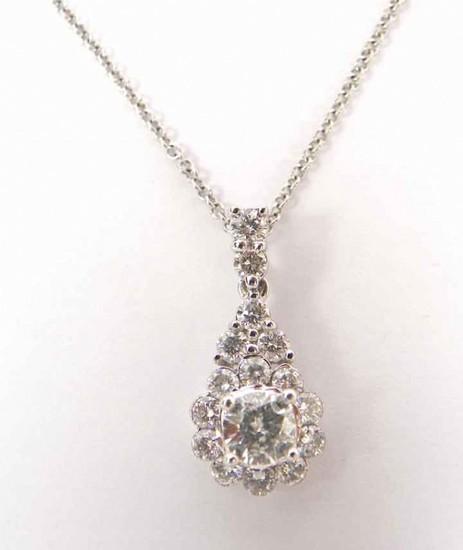 14K Stunning 1cttw Diamond Cluster Pend/Neck