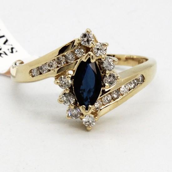 14K Midnight Sapphire w Diamond Ring
