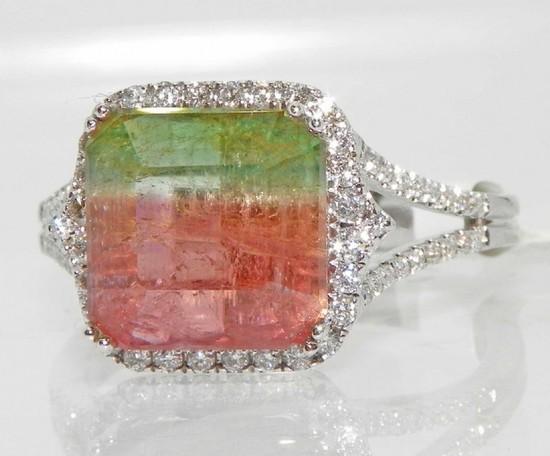 14K Gold  Watermelon Tourmaline Diamond Ring