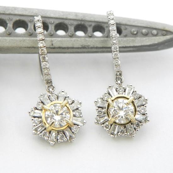 14K Gold 2-Tone Diamond Star Earrings