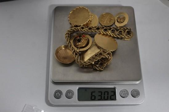 14K Gold Bracelet with 9 14K Charms 63.02g