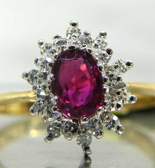 14K Gold Ruby &  Diamond Halo Ring