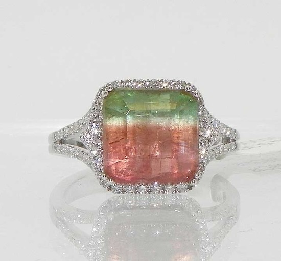 14k Gold Watermelon Tourmaline Diamond Ring