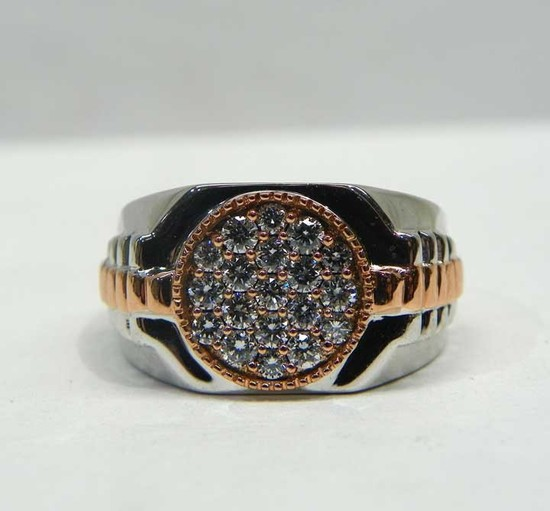 10k Diamond Cluster Two Tone Ring