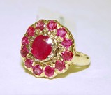 14K Gold Deep Red Ruby Ring