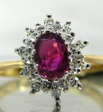 14K Gold Ruby &  Diamond Halo Ring