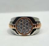 10k Diamond Cluster Two Tone Ring