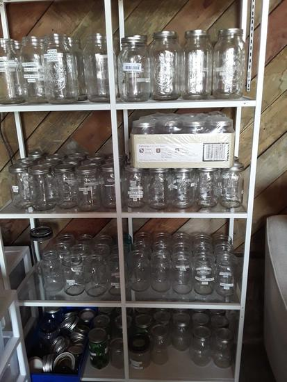 Shelving unit glass 6 ft tall metal frame no jars included