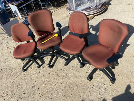 Four Matching Rolling Office Chairs - 4pcs