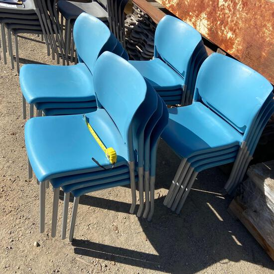 Sixteen Blue Hard Plastic Stacking Chairs - 16pcs