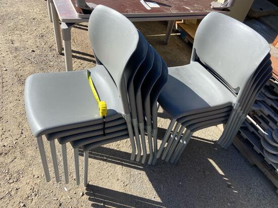 TEN Grey Hard Plastic Stacking Chairs - 10pcs