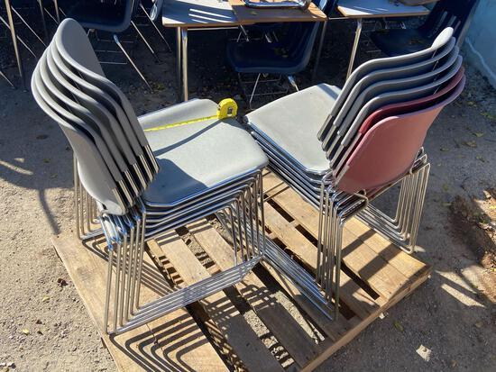 TWELVE Metal and Plastic KI Matrix Stacking Chairs - 12pcs