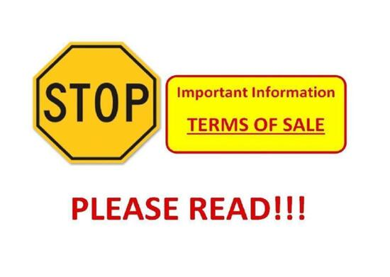 Terms of Sale - Please READ - DO NOT BID