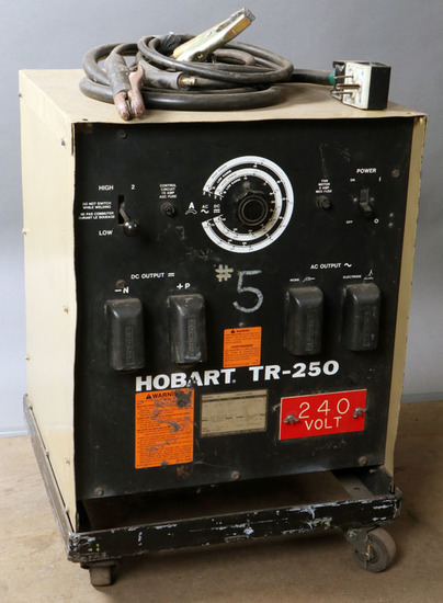 Hobart TR-250 serial #87WS08323; with cart, power cord, 1-ground, 1-stinger