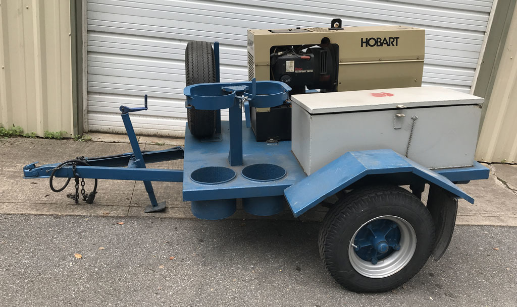 Hobart Champion Combo gas powered trailer mounted mobile welder with Onan P