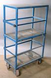 Custom built blue steel/mesh duplex cart for Miller XMT welder and/or feede