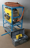ESAB Model PCM-875 with power cord, torch and accessory box; on blue steel/