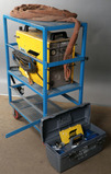 ESAB Model PCM-1125 with power cord, torch & accessory box; on blue steel/m