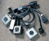 Lot of (4) approx 2'-8' 50 AMP, 240-480 volt single box extension cords