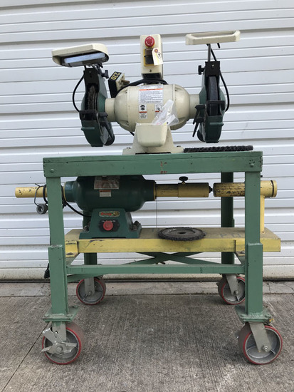 """Grizzly Combo Model G0597/G1061Z 10"""" bench grinder and tube end prep cleani"""