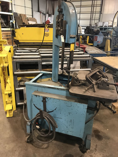 Karkut Industries Model EF1459 Roll-In vertical band saw with traveling tab