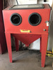 "Red Beadblast/sandblast cabinet on tall legs, 36"" W X 54"" T @back X 24"" D"