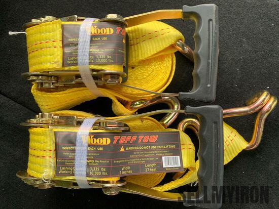 (2) Unused 2 in x 27 ft 10,000 lb Ratchet Tie Down J-Hook