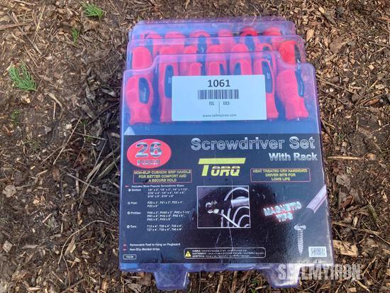 Unused 26 Pc Screwdriver Set w/ Hanging Rack [YARD 1]