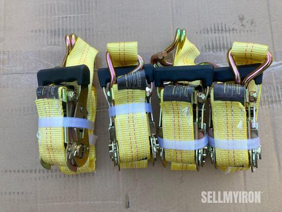 Unused (4) 1.5in x 15ft Ratchet Tie Down J Hook [YARD 1]